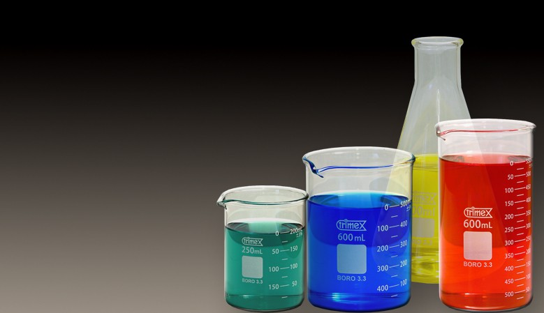 Beakers, flasks and containers